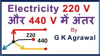 AC supply 220 & 440 V, phase, line voltage difference, Hindi