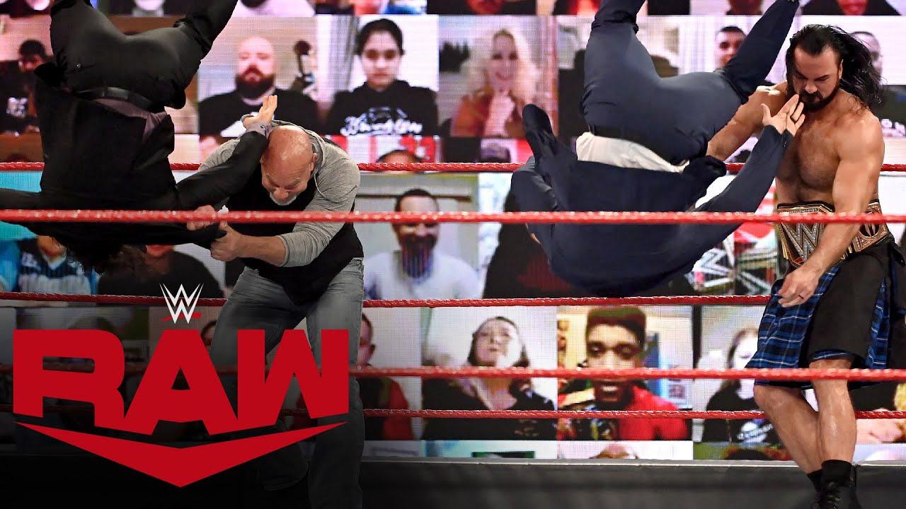 WWE - Drew McIntyre and Goldberg take out The Miz & John Morrison: Raw, Jan. 25, 2021