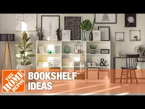 A video features ideas for bookshelves in rooms throughout the home.