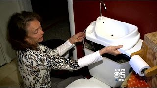 Drought-Battling Woman Combines Bathroom Sink With Toilet