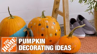 A video showing various ways to decorate a pumpkin.