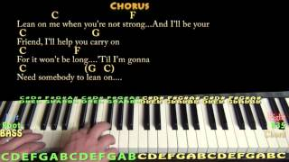 Lean On Me (Bill Withers) Piano Cover Lesson with Chords/Lyrics