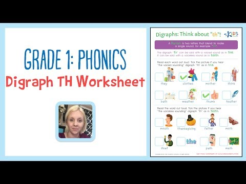 Grade 1: Phonics - Digraph TH Worksheets - Rhyming Words | Kids Academy
