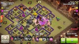 TH9 AWESOME 3 STAR ATTACK by Latoo. GOWIPE + HOGS (clash of clans war attack strategy)