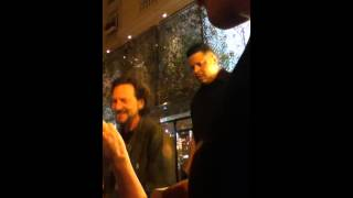 Eddie Vedder outside the hotel in Buenos Aires