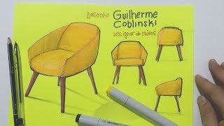 Desenho à mão livre - Cadeira fundo verde limão - Lápis, caneta e marcador