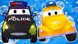 Tom the Tow Truck's Car Wash and Matt the Police Car | Truck cartoons for kids