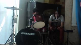 emman playing drums (I wont Give Up) width=