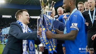 Leicester City fan presents Barclays Premier League trophy to the champions | Barclays