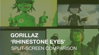 Gorillaz 'Rhinestone Eyes' video split-screen comparison