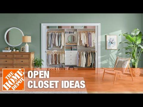An open closet with organized wardrobe storage