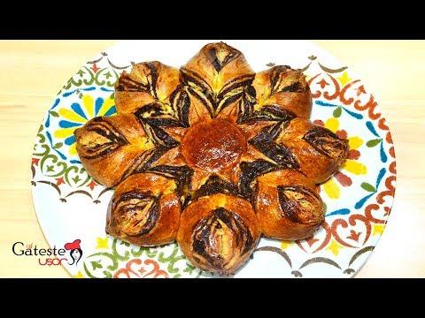 Cozonac Floare cu Crema de Cacao si Nuci