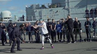 Professor hoops at Navy Base | INSANE FINISH | vs 250lb Navy Officer