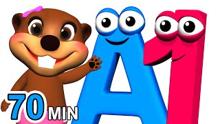 ABCs 123s + More | Alphabet Numbers Nursery Rhymes | Kids Learn 3D Cartoons by Busy & Baby Beavers width=