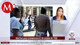 Marchan para conmemorar el 2 de octubre de 1968 en Michoacán