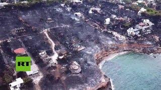 Dramáticas imágenes aéreas tras los mortales incendios en Grecia