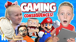 Gaming with Consequences 2! FGTEEV APE CHASE, Mario Party & Sonic! KIDCITY