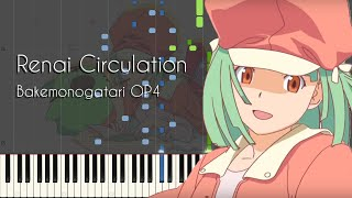 Renai Circulation - Bakemonogatari OP4 - Piano Arrangement [Synthesia]