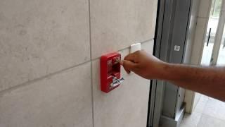 Como funciona acionador manual alavanca estágio 1 de incêndio