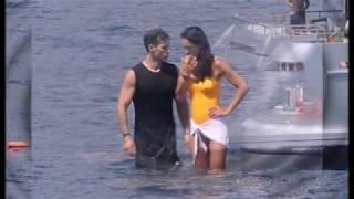 Silvia Toffanin at a luxury yacht in Portofino