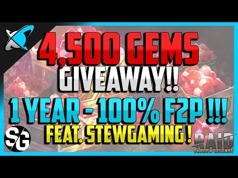 RAID: Shadow Legends | 1 YEAR *F2P* PROGRESS | 4,500 GEMS GIVEAWAY !!!