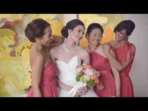 Hayley Paige Wedding Dress & Coral Bridesmaid Dresses by Little Borrowed Dress Video - mywedding