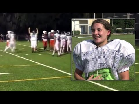 She's the first girl to score a touchdown in a Florida high school football game
