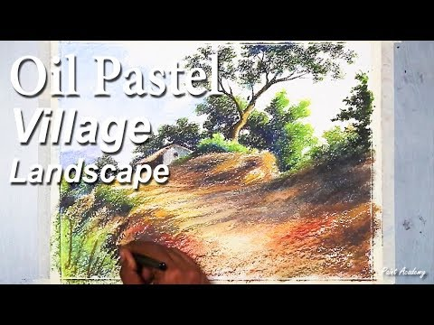 How to Draw A Village Landscape in Oil Pastel