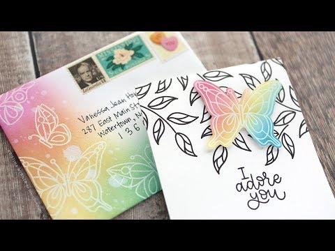Brush Blended Matching Card & Envelope - Simon Says Stamp April 2018 Card Kit