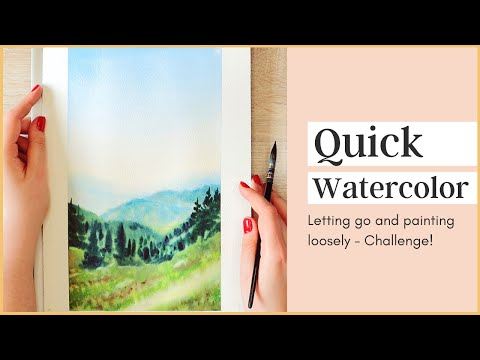 Quick & Loose Watercolor Mountain Landscape - How to Let Go & Painting Quickly Challenge!