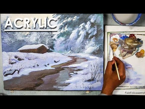 Snowy Winter Landscape Acrylic Painting step by step