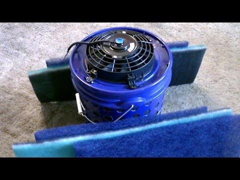 DIY activated carbon air purifier W/ PRE FILTERS! 2 Stage Bucket Air Filter! dust&odor removal!