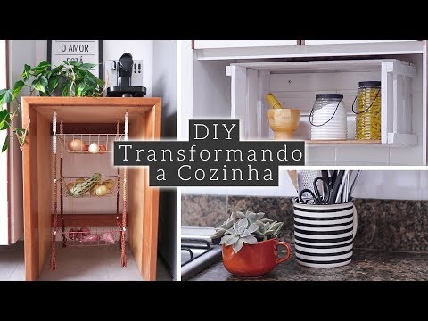 DIY Prateleira de Caixote & Fruteira de Macramê   Decorando a Cozinha 01