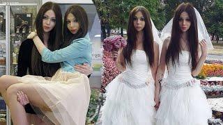 Een jongen en meisje trouwen, lijken precies op een tweeling