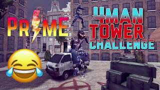 4 man tower challenge!