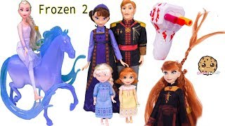Queen Elsa + Princess Anna Disney Frozen 2 Movie Royal Family Set + Twist Hair Style Makeover