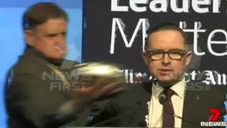 Qantas Airline boss Alan Joyce gets pie shoved in his face PRANK VIDEO