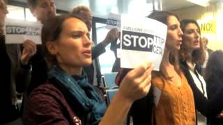 #FlashmobStopTTIP feat. #CeciliaMalmström ! Singing against TTIP in Belgium