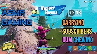 ASMR Gaming | Fortnite Carrying Subscribers Relaxing Gum Chewing 🎮🎧Controller Sounds + Whispering😴💤