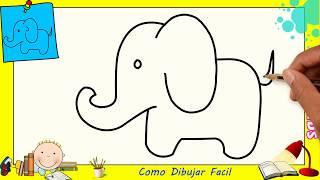 Como dibujar un elefante FACIL paso a paso para niños y principiantes 3