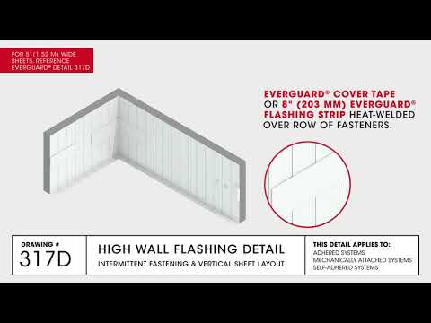 GAF High Wall Flashing Detail and Vertical Sheet Layout for TPO Commercial Roofing - Drawing 317D