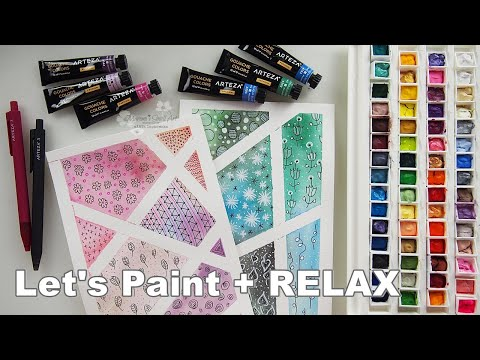 Watercolor + Doodles Relaxing Painting for Beginners ♡ Maremi's Small Art ♡