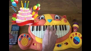 HAPPY BIRTHDAY SONG ON A DRUM CALCULATOR AND A CAT PIANO