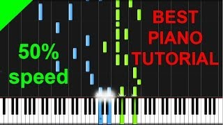 Everything Is Awesome - The Lego Movie 50% speed piano tutorial