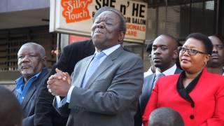 Morgan Tsvangirai announcing the decision to axe Biti