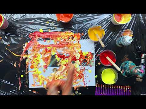 ( 630 ) and another acrylic pouring same colours