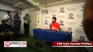 Cole Hamels no hitter press conference at Wrigley Field