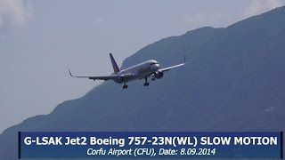 G-LSAK Jet2 Boeing 757-23N(WL) WINDY LANDING CFU SLOW MOTION [FULL HD]