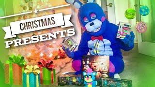 FNAF Real Life Rockstar Bonnie opening Christmas Presents