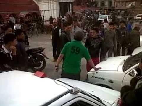 Taxi drivers fighting at Basantapur of Kathmandu, Nepal